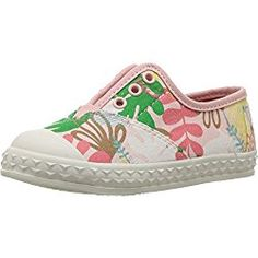 TOMS Kids Baby Girl's Zuma Sneaker (Infant/Toddler/Little Kid) Pink Tropical Palms Oxford
