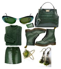"""""""MONOCHROME : GREEN"""" by michelle858 ❤ liked on Polyvore featuring FleaMadonna, Dr. Martens and Castello"""