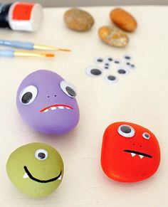 monster rock pets, Turn pebbles into fun monsters – friendly or scary. Let your imagination run riot. Paint them all over first, one side at a time, leaving them to dry thoroughly. Then paint on details using a fine paintbrush. Use acrylic paints or tester pots of household paints. Glue on goggle eyes to complete the faces.
