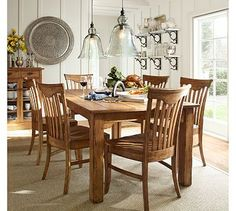 I love the stain/woodgrain on this dining room set (Solomon extending dining table, Pottery Barn). Pottery Barn Table, Pottery Barn Kitchen, Dining Room Design, Dining Room Table, Kitchen Dining, Dining Rooms, Dining Chairs, Dining Set, Kitchen Sink