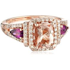 Rings, Amazon Collection, 10k Pink Gold Morganite, Rhodolite and Diamond Ring (1/3cttw, H-I Color, I2-I3 Clarity), Size 6