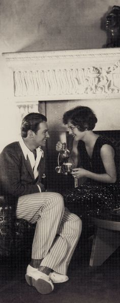 Joan Crawford & husband Douglas Fairbanks Jnr having afternoon coffee in their home.1928. From Joan Crawford The Enduring Star by Peter Cowie