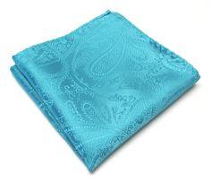 Pocket Square Turquoise Teal Blue Paisley Hankie