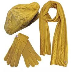 Mustard Yellow Knit Beret Hat Scarf & Glove Set (7.900 HUF) ❤ liked on Polyvore featuring accessories, matching sets, scarves and yellow