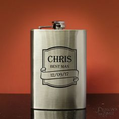 Personalized Stainless Steel Hip Flask Engraved to Order with Monogrammed Shot Glass Option (Each - 8 oz. Flask & 3 oz. Shot Glass) by DesignstheLimit #TrendingEtsy