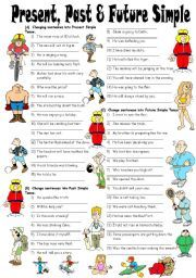 English worksheet: Exercises on Present, Past & Future Simple Tenses…