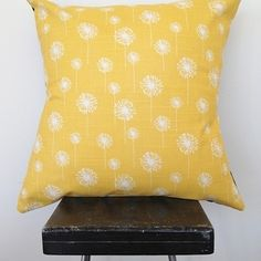 Sunny yellow dandelion print cushion cover by Black Eyed Susie