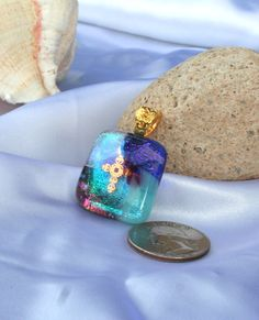 Fused Art Glass Dichroic  Gold Cross on Blue by hbjewelrydesign, $21.00
