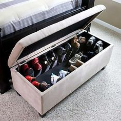 Shoe Storage in a bench. maybe cut up those shoe pocket over-the-door things to nail into inside sides of the bench.