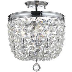 Crystorama - Crystorama Archer 3 Light Crystal Polished Chrome Ceiling Mount