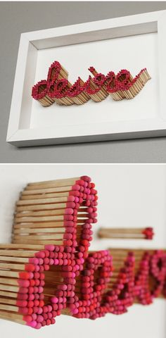 text sculpture made with matches <3
