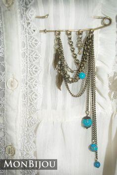 """Брошь """"Винтаж"""" в каталоге Аксессуары на Uniqhand - брошь, булавка, бронза, натуральный камень"""