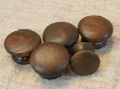 5 Vintage Wooden Knobs Drawer and Cabinet Pulls