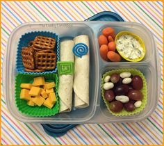 The Lucky Lunchbox/ PB&J tortilla rollups packed in EasyLunchboxes