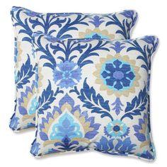 Pillow Perfect Outdoor/ Indoor Santa Maria Azure 18.5-inch Throw Pillow (Set of 2), Blue