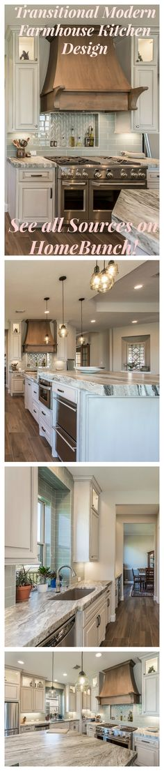 Transitional Modern Farmhouse Kitchen Design. See paint colors, backsplash, countertop, lighting and flooring sources on Home Bunch