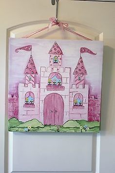 "Canvas Princess Castle Canvas Wall Art Work Picture Mural Pink Girl 20"" x 20""  - BUY NOW ONLY 42.0"