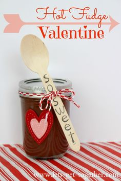 Hot Fudge Valentine-recipe for easy hot fudge and instructions for putting the valentine together. So cute! www.lets-get-together.com #valentine #sweet #hotfudge