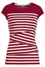Striped solid yoke nursing top in red