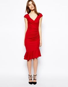 Image 1 of ASOS Ponte Pencil Dress With Peplum Hem And Ruched Wrap