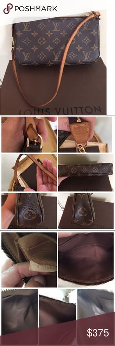 LOUIS VUITTON POCHETTE BAG Authentic LV Pochette bag.  This is a great little bag if you do not like to carry a large purse. There are a few minor ink marks on the inside interior.  No cracks in the leather strap.  Normal darkening of the leather. No wear on the exterior canvas.  Comes with box, dust bag & papers.  Date code is CA 2185.  - Shoulder carry with removable leather strap - Natural cowhide leather trimmings - Zipper closure - Textile lining - Interior flat pocket🚫TRADES 🚫LOWBALL…