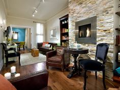 Candice Olson understands the value of a raised fireplace where a floor-level fireplace just won't work.