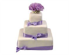 Svatební dort 34 Třípatrový svatební dort, o rozměrech 10 x 10 cm, 20 x 20 cm a 30 x 30 cm, obalen fondánem, dozdoben saténovými stuhami, květy eustemy a santinkami Cake, Food, Pie Cake, Pie, Cakes, Essen, Yemek, Meals, Cookie