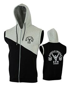 Muscle Works Gym Contrast Sleeveless Hoodie MMA Boxing Gym T Shirt Men Vest  UFC Fleece Black-Gray  Amazon.co.uk  Sports   Outdoors 6c0bbd664