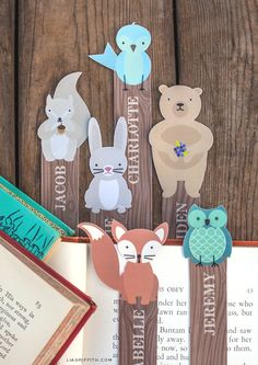 Free fun printable woodland friends bookmarks you can customise to encourage the kids to read