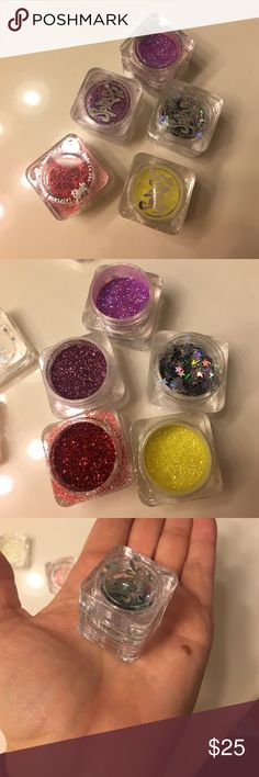 Eye Glitter Red, fushia, mauve, and yellow glitters and silver stars. Meant for eyes. I've used them for my nails before...put polish on nail and then glitter, then polish to seal. Brand is Splash. *Not sure what brand to put under* Makeup Forever Makeup Eyeshadow