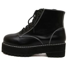 Black Round Toe Lace-up Flatform Ankle Boots