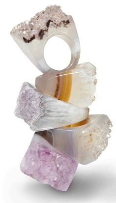 Bold, gorgeous rings cut from solid pieces of agate druzy
