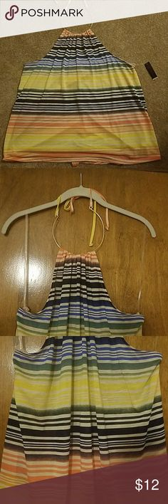 Nwt cute halter with exposed back xxl (19) Brand new. Gold metal neck with tie. No Boundaries Tops Tank Tops