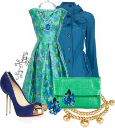 """Analogous Outfit"" This outfit uses blue and green and the mixture of the two colors. This outfits color makes this outfit Analogous because blue,blue- green are right next to each on the color wheel."