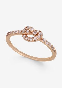 B. Brilliant Cubic Zirconia Knot Ring in 18k Rose Gold over Sterling Silver #sponsored