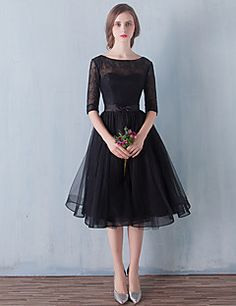 Cocktail+Party+/+Prom+Dress+-+Little+Black+Dress+A-line+Scoop+Knee-length+Tulle+with+Bow(s)+/+Lace+–+USD+$+225.00