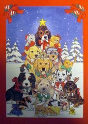 Dogs in Snow Christmas House Flag