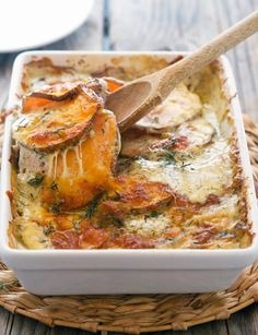 Scalloped Sweet Potatoes #justeatrealfood #theironyou Sweet Potato Casserole, Savory Sweet Potato Recipes, Veggie Side Dishes, Potato Dishes, Side Dish Recipes, Veggie Recipes, Real Food Recipes, Vegetarian Recipes, Yummy Food
