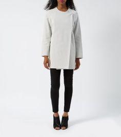 White Jacquard Textured Collarless Coat