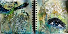 Marja's Creativity (paintings, art journals etc): Journal52 / week 1 - up, up and away