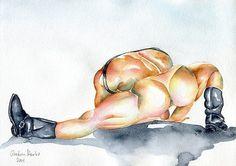"PRINT Original Art Work Watercolor Painting Gay Male Nude /""In the pool/"""