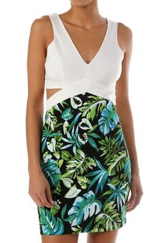 *** Solid & Printed Dress ***