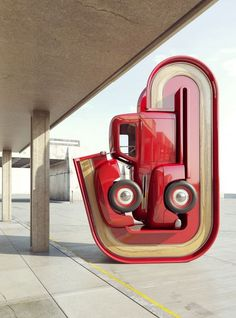 Surreale digitale Auto-Skulpturen im Americana-Style von Chris Labrooy New Holland, Chris Labrooy, Damian Ortega, Automobile, Acid Trip, 3d Artwork, Grid Design, Pickup Trucks, Sculpture Art