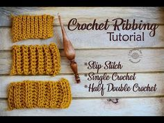 Crochet Ribbing Stitch Video Tutorial by Designs by Phanessa. How to crochet ribbing – Learn how to crochet 3 different ribbing using slip stitch, single crochet & half double crochet stitches. Ribbed Crochet, Crochet Ripple, Tunisian Crochet, Crochet Geek, Free Crochet, Beginner Crochet, Easy Crochet, Crochet Square Patterns, Crochet Stitches Patterns