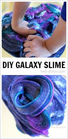 Stretch polymers and imaginations with this galaxy slime from Twodaloo! Using a standard slime recipe, adding just two extra ingredients can take your kids on a trip to the stars! Liquid starch, Elmer's glue, liquid water color, and glitter!