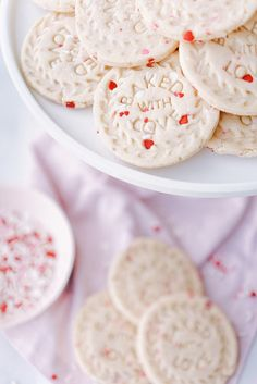 These easy sprinkle sugar cookies are perfect for Valentine's Day or Birthdays. This sprinkle cookie recipe will bring a smile to anyone's face! Valentine's Day Sugar Cookies, Sprinkle Cookies, Sugar Cookies Recipe, Rose Cookies, Quick Cookies, Yummy Cookies, Easy Desserts, Dessert Recipes, Cookies From Scratch