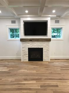 Excellent Images wooden Fireplace Remodel Popular Shiplap fireplace with a stacked stone face and reclaimed mantel … Oh yes and …, Wood Mantle Fireplace, Fireplace Built Ins, Brick Fireplace Makeover, Fireplace Remodel, Fireplace Design, Fireplace Ideas, Fireplace Stone, Fireplace Decorations, Basement Fireplace