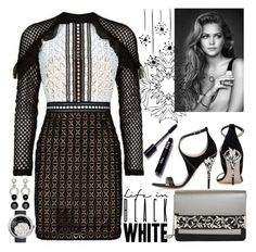 """""""Self-Portrait Geometric Lace Dress"""" by the-wardrobe-of-wishes ❤ liked on Polyvore featuring self-portrait, RALPH & RUSSO, Chanel and Nathalie Jean"""