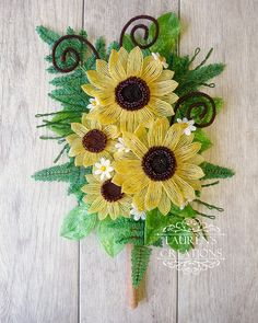 French Beaded Sunflower Wall Bouquet - by Lauren Harpster of Lauren's Creations