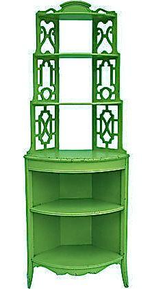green corner wall shelf idea | BLACK ANTIQUE LACQUER PAGODA SHELF, Gold Accents, Bookcase ...